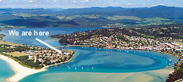 Arial view of Merimbula and Chapman Court position.